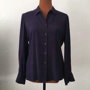 Dana Buchman Petite Eggplant Silk Button Up Blouse